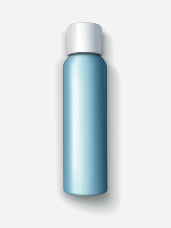 Blank cosmetic container mockup, top view of 3d illustration blue spray bottle