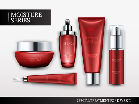 Cosmetic container mockup set, top view of red tubes and jars isolated on white background, 3d illustration Illustration