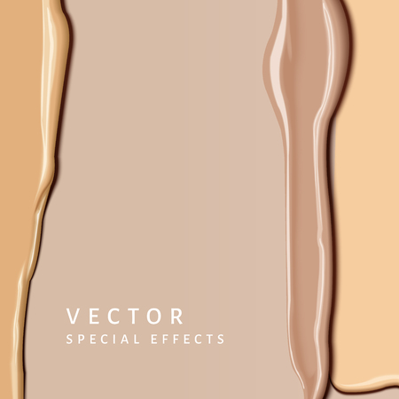 Foundation smear texture, close up look at different complexion tone cream for cosmetic use in 3d illustration Ilustração