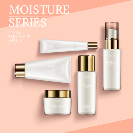 Cosmetic container mockup set, top view of white tubes and jars isolated on geometric background, 3d illustration