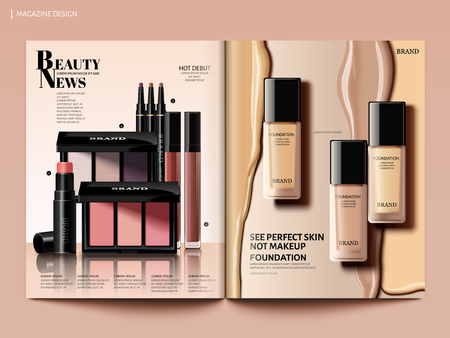 Beauty magazine design, foundation with creamy liquid and eyeshadow set in 3d illustration, magazine or catalog brochure template for design uses