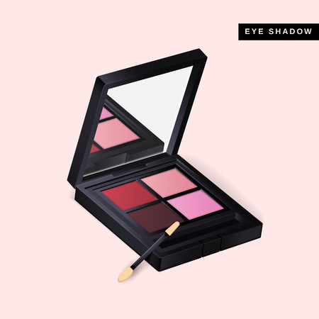 Eye shadow mockup, close up look at makeup product in 3d illustration isolated on pink background Vettoriali