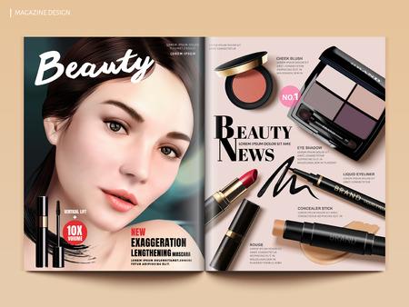 美容雑誌のデザイン、デザイン用途の 3 d イラスト、雑誌やカタログ パンフレット テンプレートで魅力的なモデルの肖像メイク製品のモックアップ