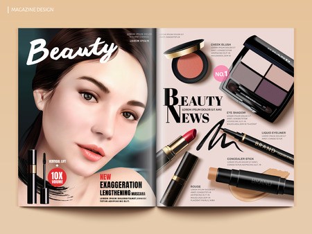 Beauty magazine design, set of makeup products mockup with charming model portrait in 3d illustration, magazine or catalog brochure template for design uses Ilustracja