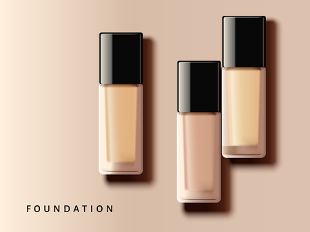 Elegant foundation collection, different complexion tone in glass container in 3d illustration, top view of makeup design elements