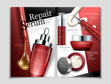 Skin care magazine template, repair series cosmetic set in 3d illustration in red tone for design uses