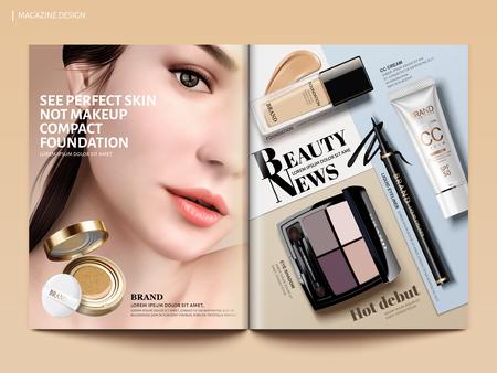 Beauty magazine design, set of makeup products mockup with charming model portrait in 3d illustration, magazine or catalog brochure template for design uses Ilustração