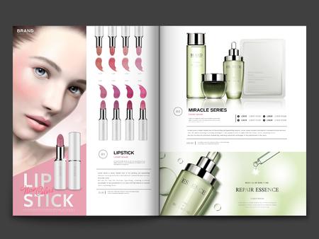 화장품 잡지 템플릿, 3d 일러스트, 잡지 또는 카탈로그 브로셔 디자인 사용에에서 모델 초상화와 립스틱 및 스킨 케어 제품 일러스트