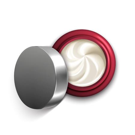 オープン クリーム ジャーの平面図、3 d イラストレーションのデザイン用テンプレートをクリームを旋回