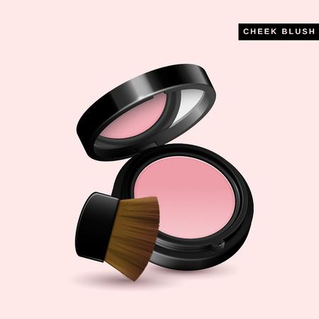 頬の赤面モックアップ、間近でピンクの背景に分離した 3 d イラストでメイク製品を見て