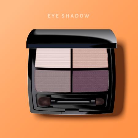 현대적인 눈 그림자 팔레트, 보라색 톤 아이 섀도우 모형 3d 일러스트 레이 션, 오렌지 배경에 화장품의 상위 뷰