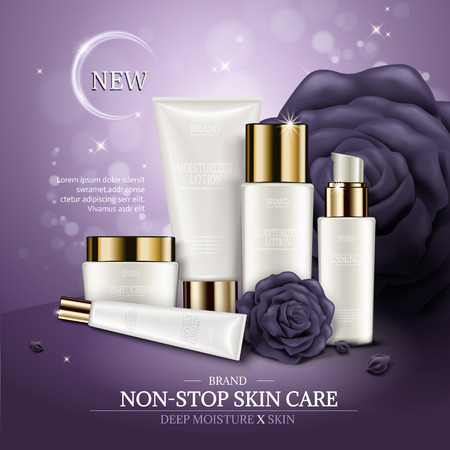 Skincare ads template, white cosmetic container mockup set with purple roses and bokeh background, 3d illustration