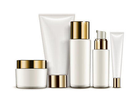 Cosmetic container mockup set, white tubes and jars isolated on white background, 3d illustration Illustration