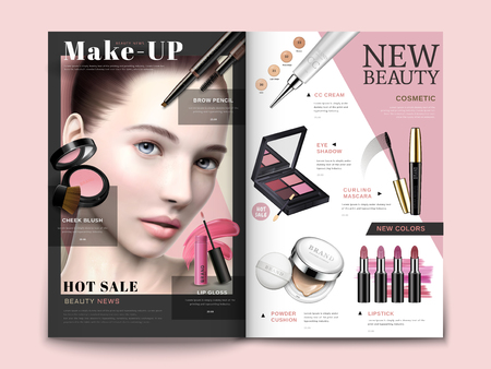 Cosmetic magazine template, trendy cosmetic products with model portrait in 3d illustration, magazine or catalog brochure for design uses
