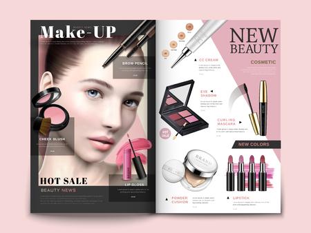 Kosmetisch tijdschriftmalplaatje, trendy kosmetische producten met modelportret in 3d illustratie, tijdschrift of catalogusbrochure voor ontwerpgebruik