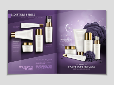 Hautpflegezeitschriftschablone, Feuchtigkeitsreihenkosmetik stellte in Illustration 3d, purpurrotes Tondesign mit weißem Behältermodell ein Standard-Bild - 84944674