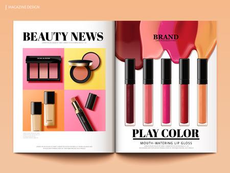 아름다움 잡지 디자인, 화려 하 고 트렌디 한 3d 그림, 잡지 또는 카탈로그 브로셔 템플릿 디자인 사용에 대 한 제품 뉴스
