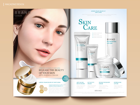 Skin care magazine design, set of cosmetic mockup with charming model portrait in 3d illustration, magazine or catalog brochure template for design uses