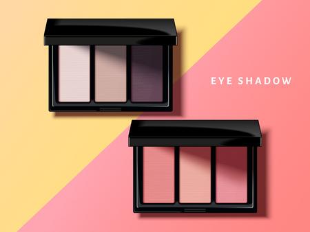 Modern oogschaduwpalet, roze en purpere toonoogschaduwmodel in 3d illustratie, geometrische achtergrond