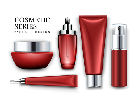 Cosmetic container mockup set, top view of red tubes and jars isolated on white background, 3d illustration  イラスト・ベクター素材