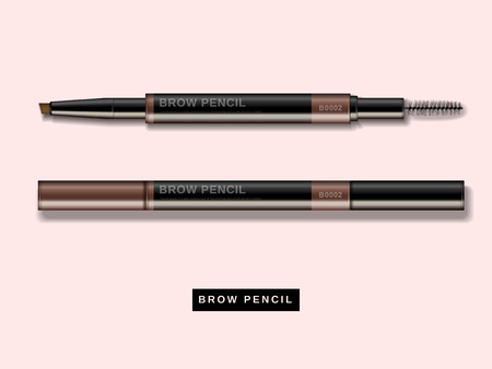 Eyebrow pencil mockup, close up look at makeup product in 3d illustration isolated on pink background