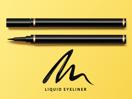 Liquid eyeliner set, top view of eyeliner product mockup for cosmetic use in 3d illustration, isolated on yellow background with black stroke