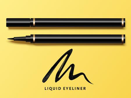 Set di eyeliner liquido, vista dall'alto di eyeliner prodotto mockup per uso cosmetico in 3d illustrazione, isolato su sfondo giallo con tratto nero Archivio Fotografico - 84944679