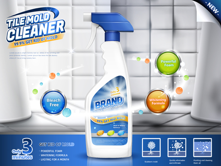 Tile mold cleaner ads, spray bottle with several efficacies in 3d illustration, before and after comparison, bathroom scene