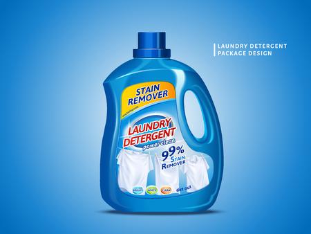 Laundry detergent package design, blue container bottle with label in 3d illustration isolated on blue background Ilustração