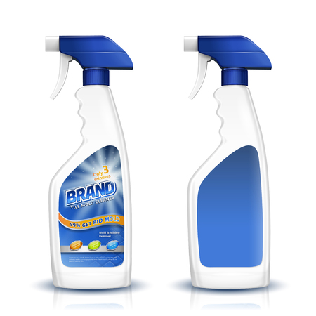 Tile mold cleaner mockup, blank spray bottle with label design isolated on white background, 3d illustration