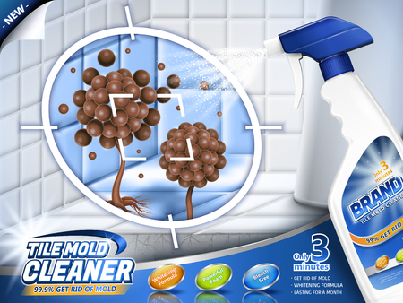 Tile mold cleaner ads, spray bottle with stubborn mold and mildew in 3d illustration, bathroom scene Illustration