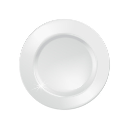 Bright white plates template, blank empty dish in 3d illustration, top view