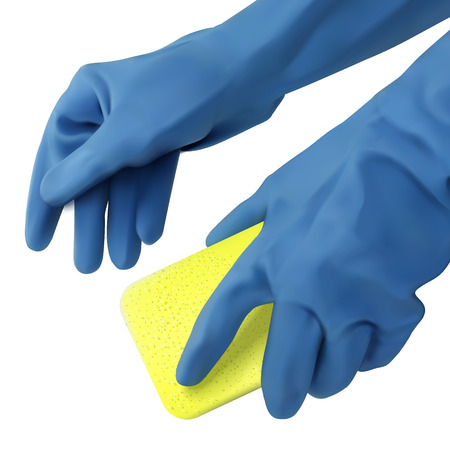 Hands in blue gloves holding dishwashing sponge isolated on white background in 3d illustration