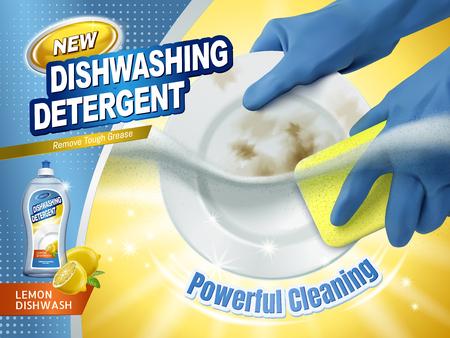 Annonces de détergent à vaisselle, gants bleus tenant une éponge à récurer les assiettes sales avec liquide de nettoyage de plat sous l'eau, illustration 3d