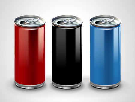 Blank aluminum mockup, three metallic cans for design uses in 3d illustration