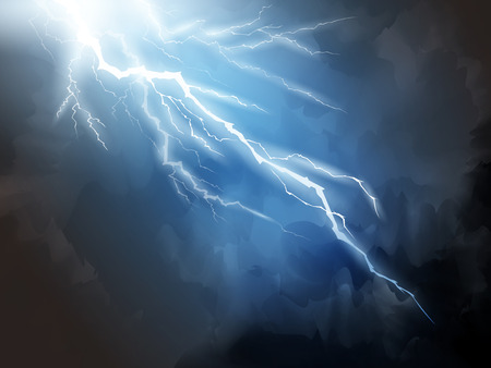 Blue lightning background, natural phenomenon 3d illustration for design uses