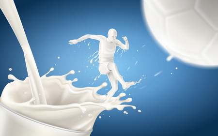 Milk made soccer player is kicking a football with splashing milk isolated on blue background in 3d illustration