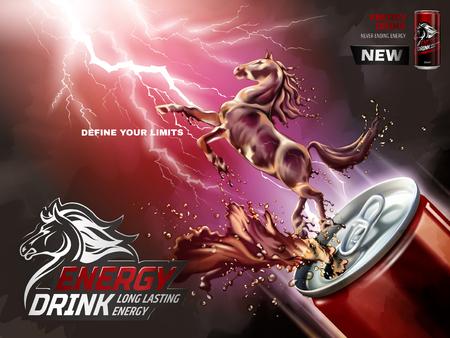 에너지 음료 광고, 액체 말 3d 그림에서 튀는 음료와 함께 수에서 위로 번개 배경