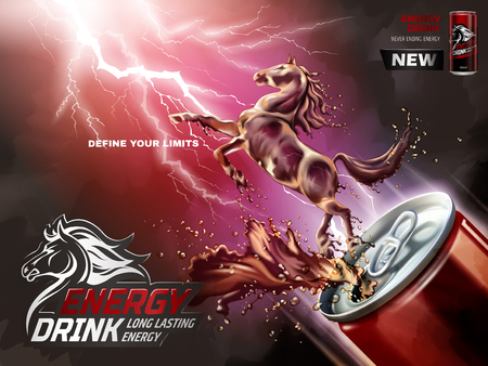 Energy drink ads, liquid horse jumped up from can with splashing beverages in 3d illustration, lightning background