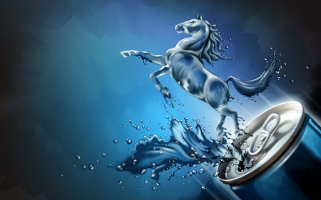 Liquid horse jumped up from can with splashing beverages in 3d illustration, blue background design element