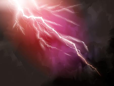 Fundo vermelho do relâmpago, ilustração natural do fenômeno 3d para usos de design