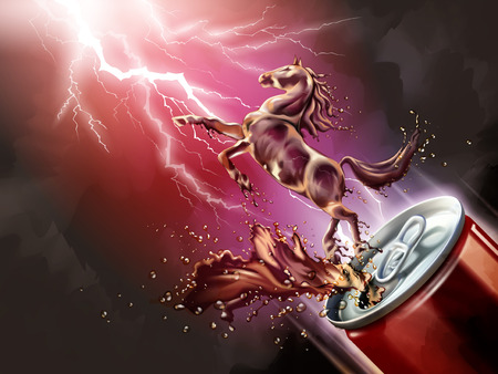 Liquid horse jumped up from can with splashing beverages in 3d illustration, red lightning background Illustration