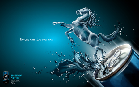 Elegant energy drink ads, liquid horse jumped up from can with splashing beverages in 3d illustration, blue background