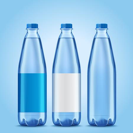 Maqueta de tres botellas, botellas de plástico con etiquetas en blanco para usos de diseño en la ilustración 3d