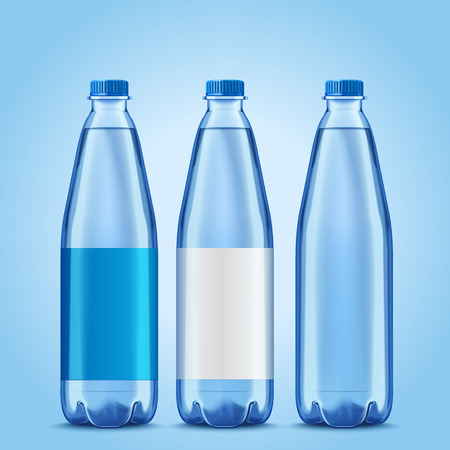 Three bottles mockup, plastic bottles with blank labels for design uses in 3d illustration
