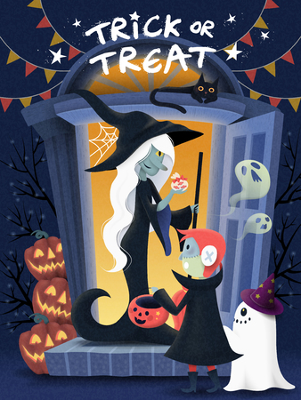 Halloween poster design, a kid wearing monster costume and visits witch house for candies, pumpkin and spooky elements