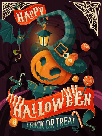 할로윈 포스터 디자인, 마녀 모자와 망토, 할로윈 파티 또는 인사말 카드 호박 남자