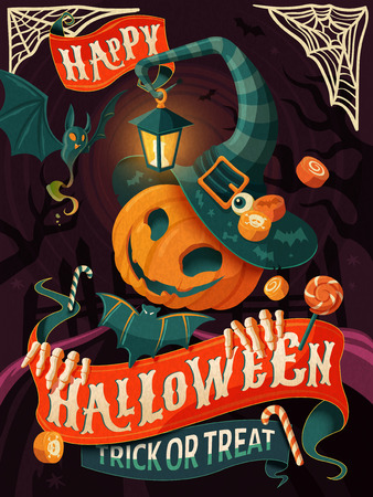 Halloween poster design, pumpkin man with witch hat and cloak, Halloween party or greeting card Ilustração