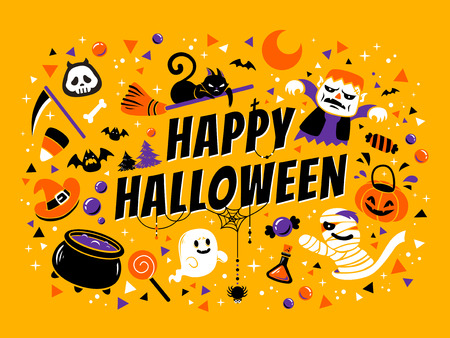 Happy halloween poster, lovely cartoon style with halloween design elements isolated on  background Çizim