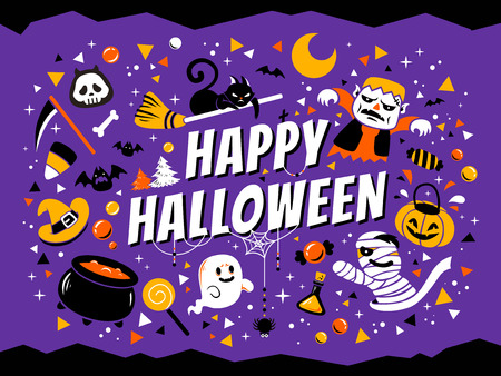 Happy halloween poster, lovely cartoon style with halloween design elements isolated on purple background Çizim